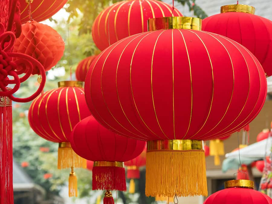 Red Lanterns Hang As Decorations During The Chinese New Year.